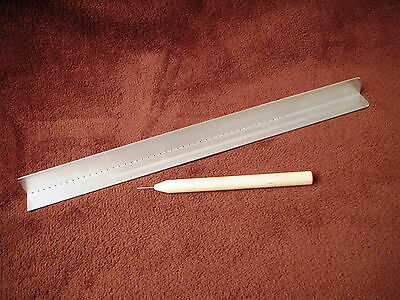 Punching Guide and Awl for punching piercing cradle bookbinding signatures..3051