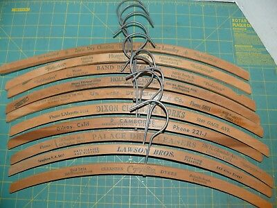 10 Vintage Advertising Wood Coat Cloth Hangers  DYE WORKERS & CLEANERS