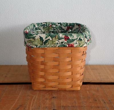 "Longaberger 2001 6 1/2"" Tall Tissue Basket w/ Holly Liner and Protector"