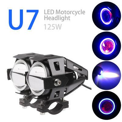 2PCS Cree U7 LED Motorcycle Headlight Fog Spot Light Angle+Devil Eyes DC 12-80V