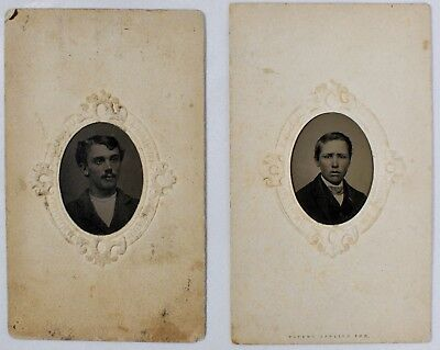 Lot of 2 Antique Tintypes One with 2 cents Stamp on Back Providence RI