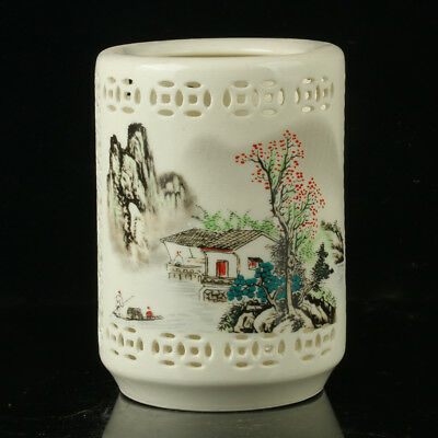 Chinese Porcelain Hand-painted Landscape Paintig Brush Pot W Qianlong Mark R112