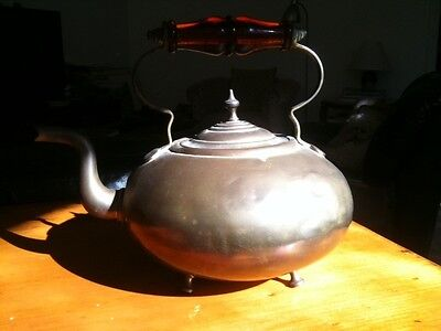 Lovely Antique Brass Teapot On Four Sturdy Feet With Amber Glass Handle