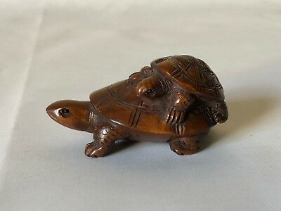 "Vintage Hand Carved Wood Japanese Baby Riding Mom Turtle Netsuke 2.25"" Signed"