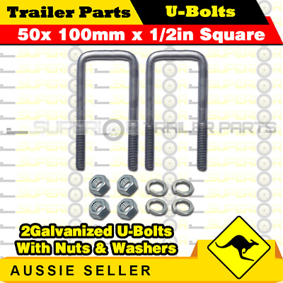 2 x U-Bolts 50mm x 100mm Square with Nuts Galvanized Trailer Box Boat Caravan