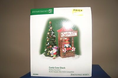 """Dept 56 North Pole Series """"Candy Cane Shack  """" Battery Operated New In Box"""