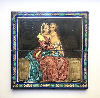 Rare Antique Mensaque Rodriguez Madonna & Child Pottery Tiles, 1920s-30s Spain