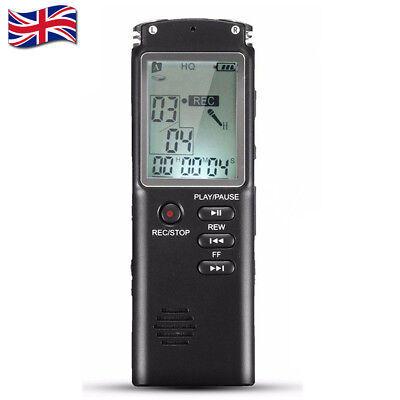 32GB Rechargeable Digital Sound Voice Recorder USB LCD Recording MP3 Player UK
