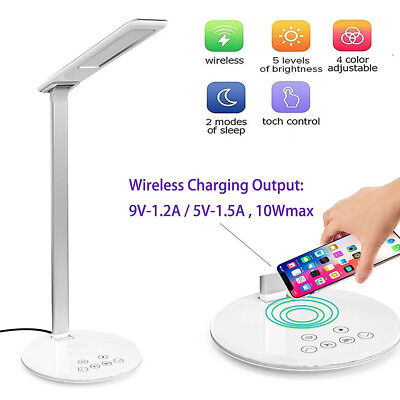 LED Desk Lamp, Dimmable Office Lamp with USB Charging Port, Wireless charger FM8