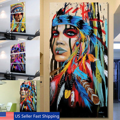 1/3Pcs Indian Women Abstract Wall Art Painting Canvas Print Picture Decor Framed