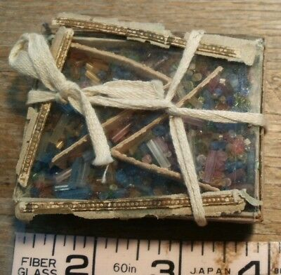 Antique Victorian Box Full Of Beads Czechoslovakia Glass Lid As-Is