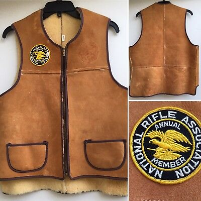 Vintage Leather Sherpa Vest National Rifle Association Annual Member Patch L NRA