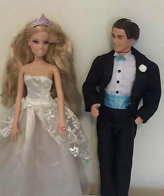 Barbie Ken Wedding Set Bride Doll Light Up Ring Vintage Groom In