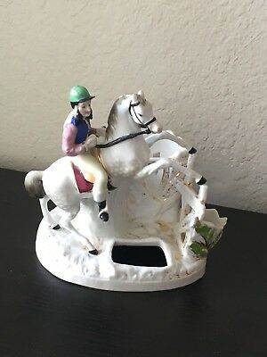 Antique Porcelain TABLE CADDY Edwardian Steeplechase Rider and Horse