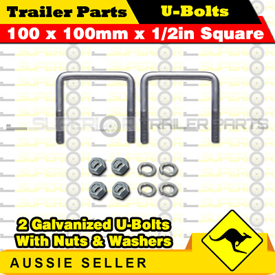 2 x U-Bolts 100mm x 100mm Square with Nuts Galvanized Trailer Box Boat Caravan