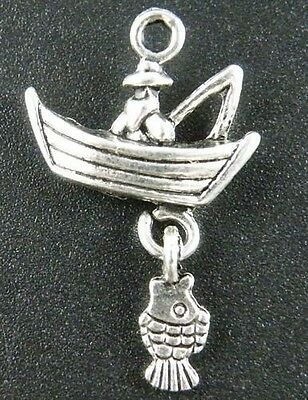 15pcs Fishing Charms Fisherman in a Boat Charm Antique Silver Tone 18x31mm 1852