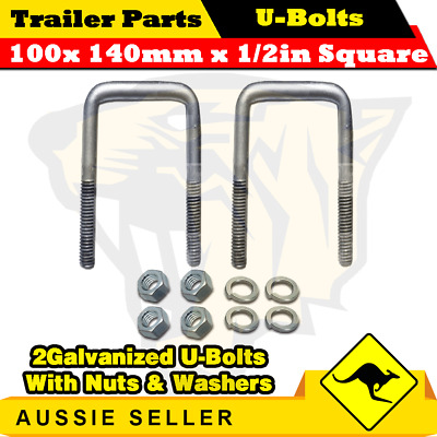 2 x U-Bolts 100mm x 140mm Square with Nuts Galvanized Trailer Box Boat Caravan