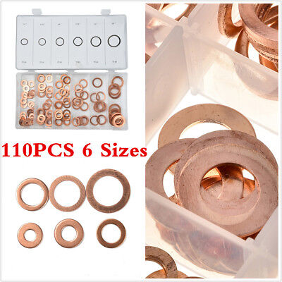 110Pcs Multiple Brass Flat Gasket Copper Crush Washer Assortment Seal Ring Car