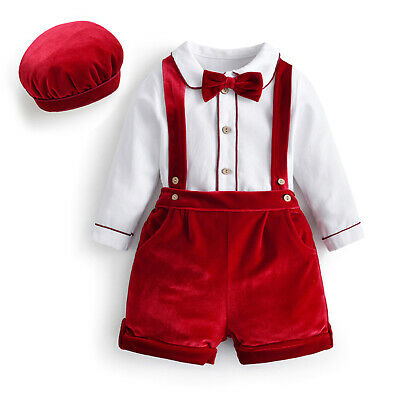 Baby Boy Formal Romper Suspender Shorts Christening Baptism Outfit Party Costume