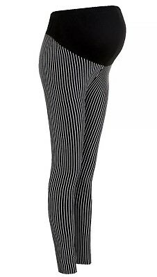 Boohoo Lena Over The Bump Maternity Ladies Black Pinstripe Skinny Trousers Sz 10
