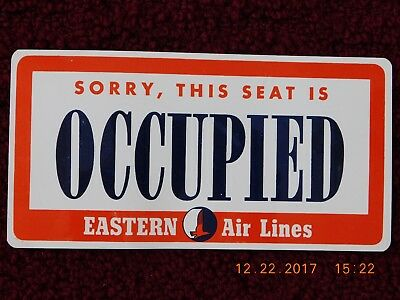 """Eastern Airlines """"sorry, This Seat Is Occupied"""" Plaquette - Reverse In Spanish"""