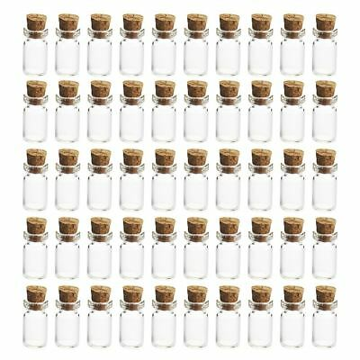 50Pcs 12*24MM 1.5ML Mini Glass Bottles Empty Sample Jars with Cork Stoppers