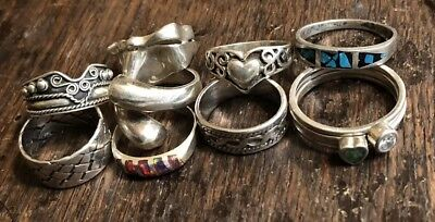 Assorted 925 Sterling Silver Rings Some Stones 35.7Gr All Marked Wearable
