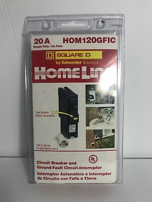 Square D HomeLine HOM120GFIC 20amp 120v single pole ground fault circuit breaker