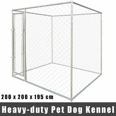 Extra Large Heavy-duty Pet Dog Kennel Cage Lockable Galvanised Steel Outdoor UK