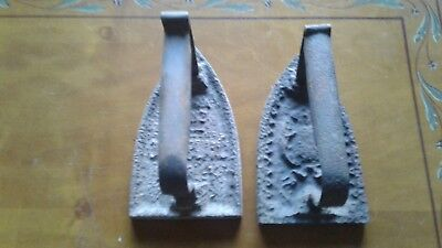Two Old French Flat Irons - Cast Iron Door Stop.