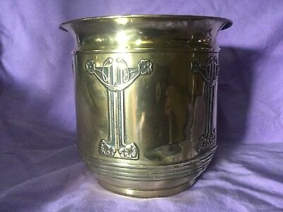 Beautiful Antique Large Brass Art Nouveau Planter. Plant Pot. Quality Crafts