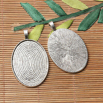 Tibetan silver plated carved oval shape 30*40mm cabochon settings  3pcs  EF3570