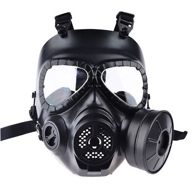 Airsoft Paintball Google Dummy Gas Mask with Fan for Protection