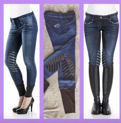 SALE! Was $159Hrtlnd Ladies Crystal Denim Silicone Gel Breeches Jodhpurs