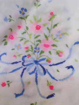 Pretty Vintage Linen Hand Embroidered Tablecloth