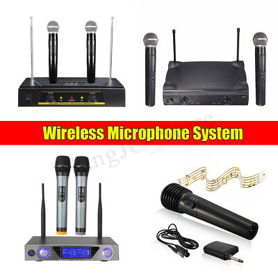 Portable VHF Wireless Microphone System LED 2 Channel Handheld Mic Karaoke KTV