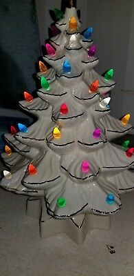 White Porcelain Christmas tree with colorful lights