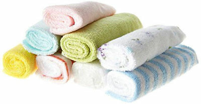 Pack of 6 baby kids soft wash cloth bath feeding towel flannel wipe mixed colour