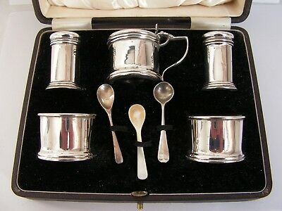 Hallmarked Eight  Piece Solid Silver Cruet Salt, Pepper & Mustard Condiment Set