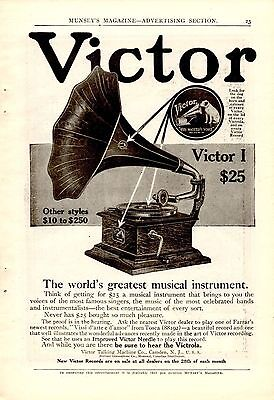 1909 Victor I Phonograph Ad-Worlds Greatest Musical Instrument