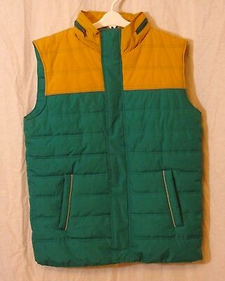 Boys Blue Zoo Debenhams Green Yellow Hooded Padded Gilet Bodywarmer Age 13 Years