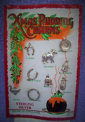 Vintage Solid Silver Xmas Pudding Charms - Set Of 9 - Unopened On Card