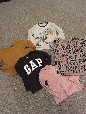 Boys Bundle Of 5 T-Shirts, Jumper Tops, Age 4-5 Years, Excellent Condition