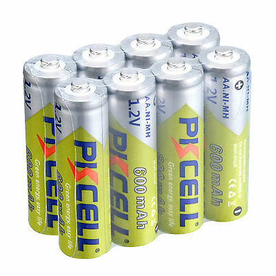 PKCELL 8PCS 1.2V AA 600mah Batteries Ni-MH Rechargeable Battery