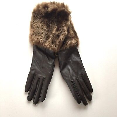 Vintage Style 1950s 1960s Dark Brown Leather and Faux Fur Long Gloves Size M/L