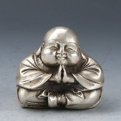 Chinese Tibet Silver Hand-carved Buddha Statue