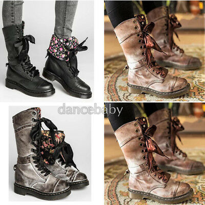 0f1ec1f66d Ladies Womens Combat Army Military Worker Lace Up Flat Biker Zip Ankle Boots