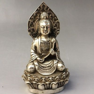 Collection Tibet silver COLLECTABLE HANDWORK CARVED Kwan -Yin STATUE