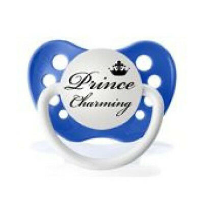 Personalized Pacifier Prince Charming Blue Slogan Dummy