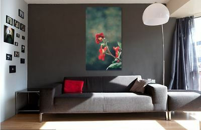 WALLART COLORFUL RAINY NATURE FLOWERS picture Canvas home wall choose your size